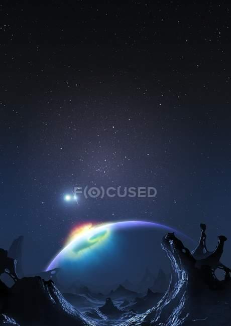 Artwork of spacecraft on Methuselah planet orbit. — Stock Photo