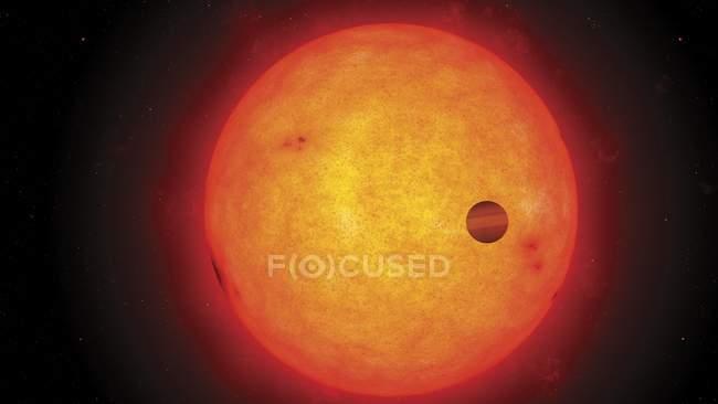 Opera d'arte digitale di pianeta sconosciuto che passa davanti alla stella . — Foto stock