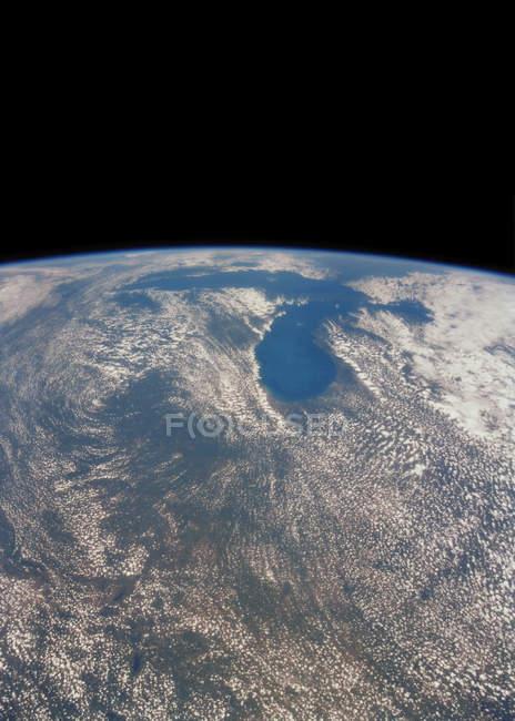 Супутниковий знімок великих озер на США і Канада кордоні. — стокове фото