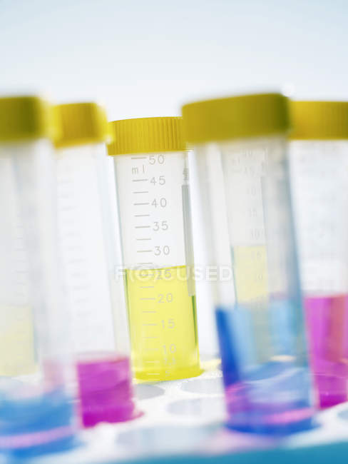 Liquids of different colors in sample vials in laboratory. — Stock Photo