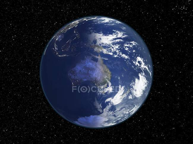 Digital illustration of Earth centered on Australia. — Stock Photo