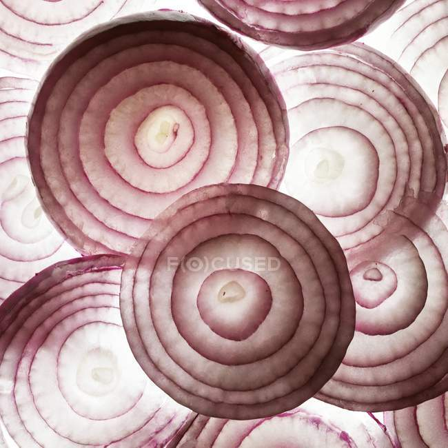 Close-up view of red onion slices on white background. — Stock Photo