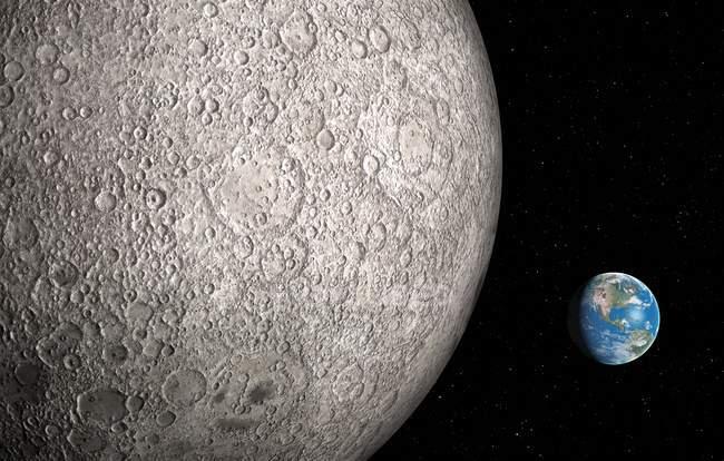 Superfície da lua e a terra na distância, obras de arte digital. — Fotografia de Stock
