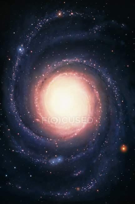 Imagen digital de galaxia espiral con núcleo amarillo con brazos espirales . - foto de stock