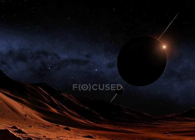 Mond umkreist einen saturenartigen Exoplaneten — Stockfoto
