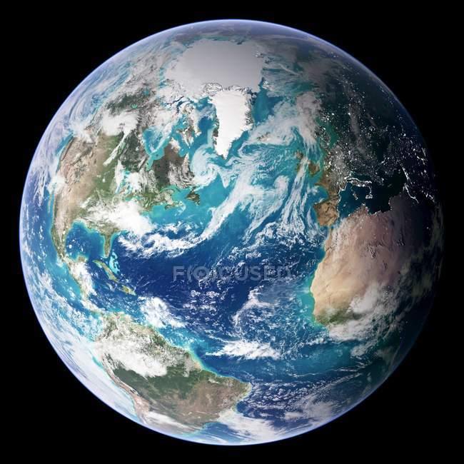 Digital illustration of Earth centered on Atlantic Ocean. — Stock Photo