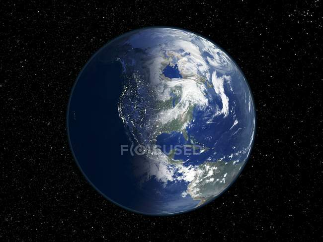 Digital illustration of Earth centered on North America. — Stock Photo