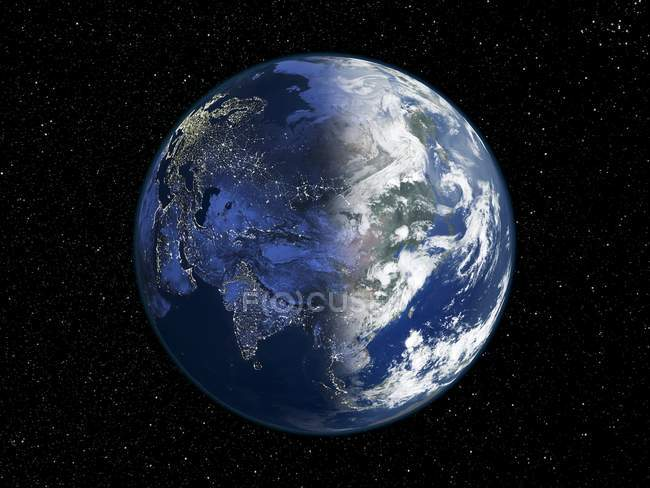 Digital illustration of Earth centered on Asia. — Stock Photo