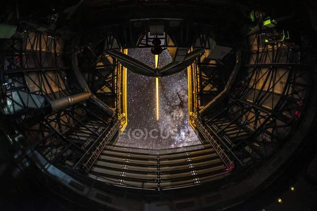 Laser inside telescope in astronomical observatory, Chile. — Stock Photo