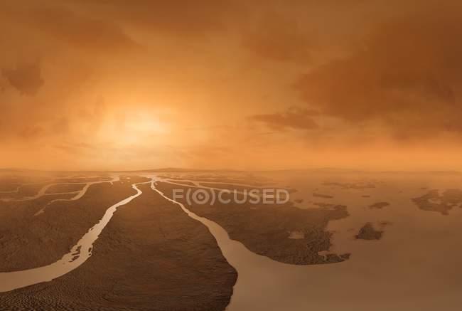 Digital artwork of surface of Titan moon. — стокове фото
