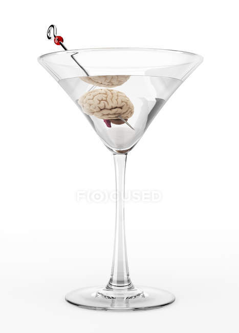 Cocktail glass with human brain, conceptual illustration. — Stock Photo