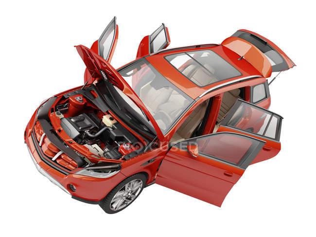 Auto mit offenen Türen — Stockfoto