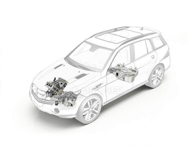 Moteur de voiture et le réservoir de carburant — Photo de stock