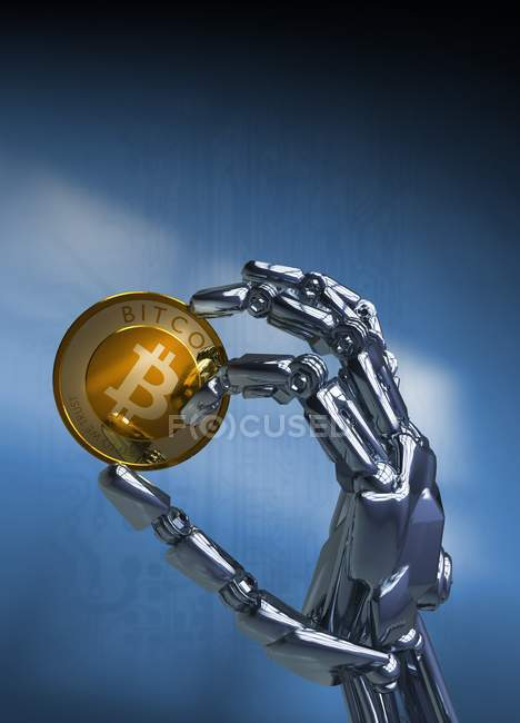 Robotic hand holding bitcoin, digital illustration. — Stockfoto