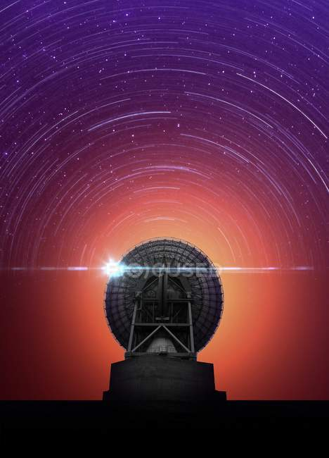 Telescope and star trails in sky, artwork. — Stock Photo