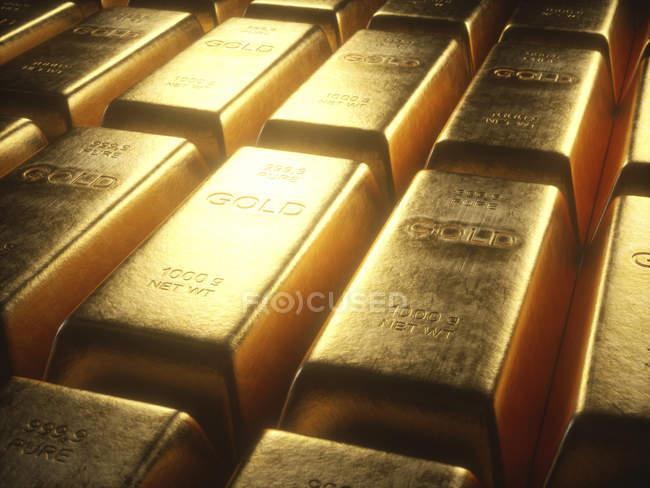 Цифровая Иллюстрация блестящих золотых слитков, полный кадр. — стоковое фото