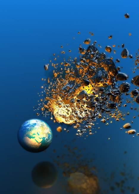 Метеор попадання планети Земля, концептуальні комп'ютер ілюстрація. — стокове фото