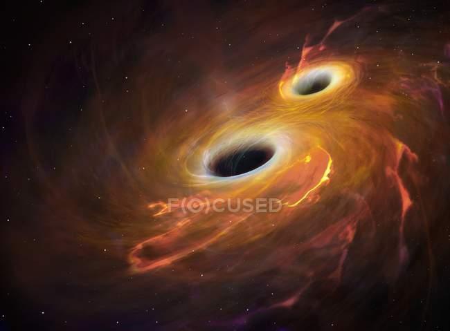Ілюстрації два чорних дірок, що обертається навколо один одного в Акреція диск. — стокове фото