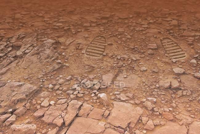 Fußabdrücke auf der Marsoberfläche, Kunstwerk — Stockfoto