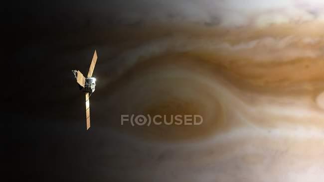 Computer illustration of spacecraft over Jupiter pole. — Stock Photo