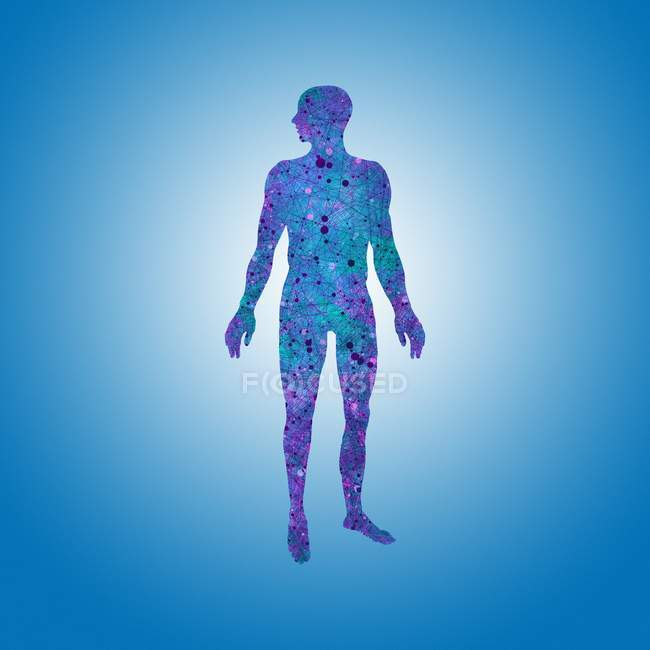 Атомная структура человеческого тела — стоковое фото