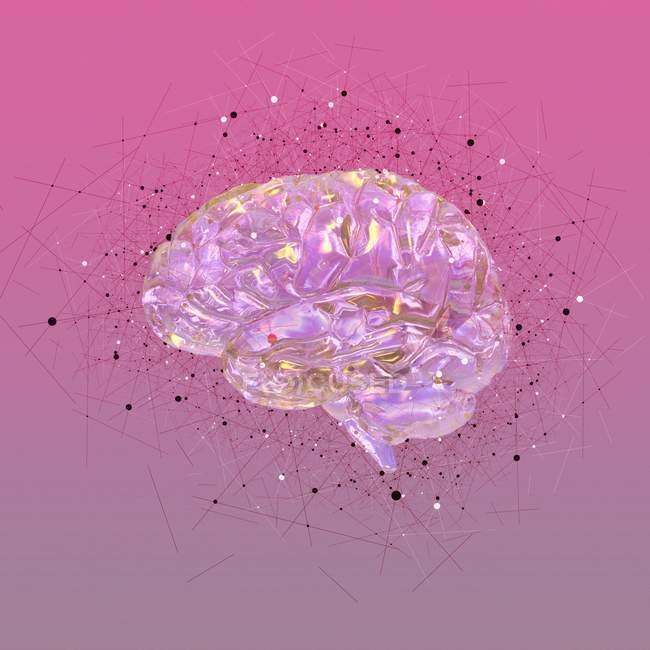 Le rendu conceptuel du cerveau humain — Photo de stock