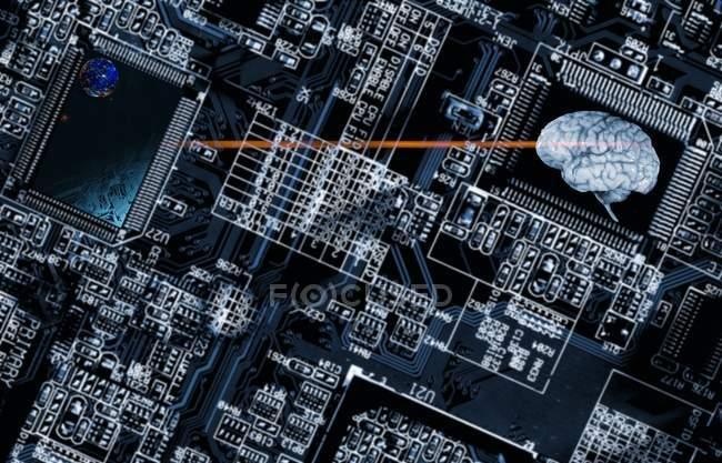 Scheda di circuito del computer e cervello umano — Foto stock