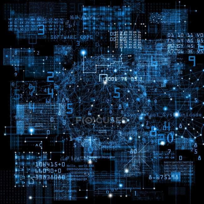 Illustrazione astratta del modello di rete dati con parole e numeri . — Foto stock