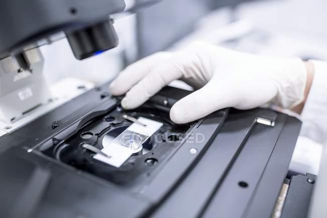 Gros plan de la main dans le gant réglant la glissière de microscope . — Photo de stock