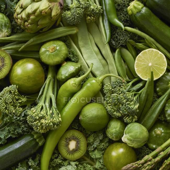 Freschi prodotti verdi, full frame . — Foto stock