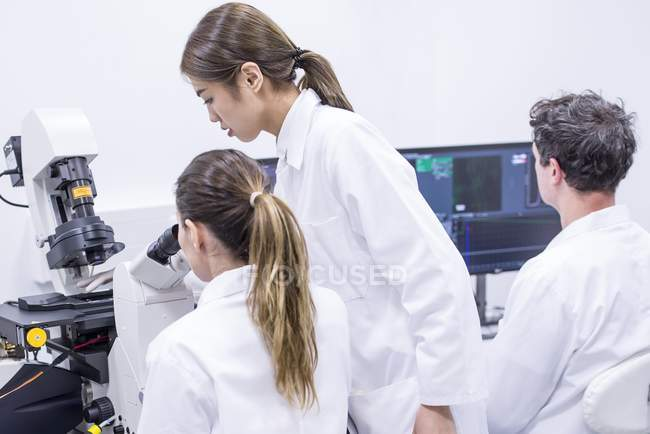 Scientists working in laboratory with microscope and computer. — Stock Photo