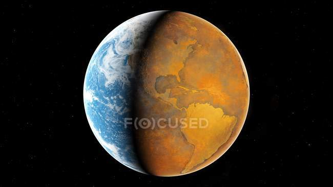 Illustration of Earth half normal and half without water. — Stock Photo