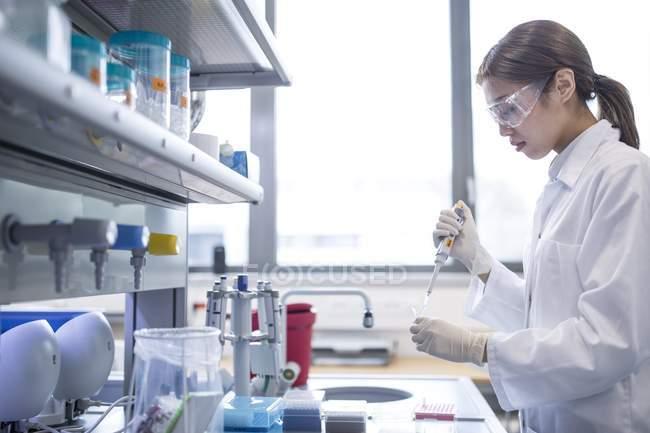 Cientista trabalhando em laboratório. — Fotografia de Stock