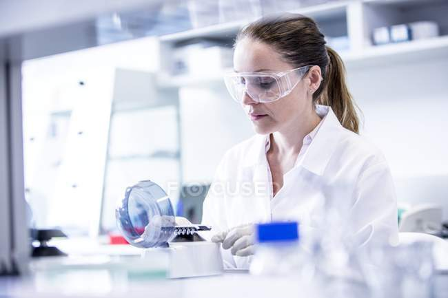 Female laboratory assistant using mini centrifuge. — Stock Photo