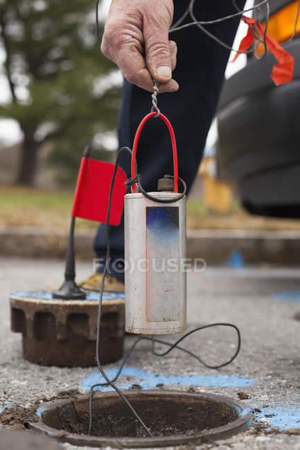 Вода департамент технік зниження його власних витоку датчиків. — стокове фото
