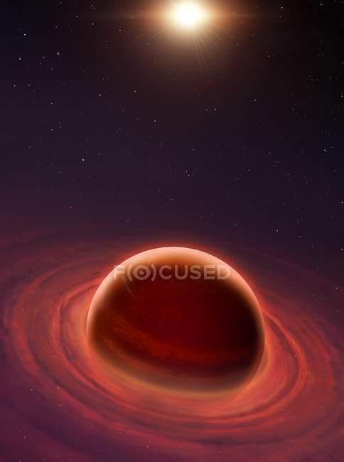 Growing formation of gas giant planet with concentric disc. — Stock Photo