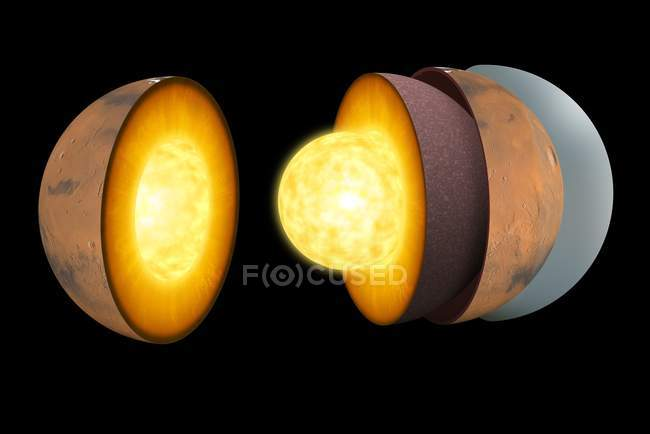 Схема цифровой иллюстрации внутренней структуры Марса — стоковое фото