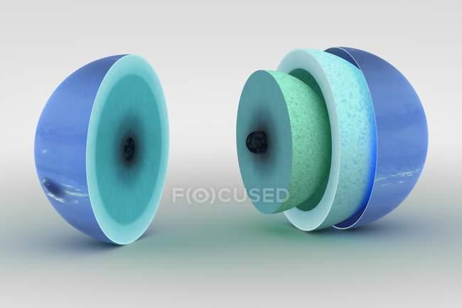 Схема цифровой иллюстрации внутренней структуры Нептуна — стоковое фото