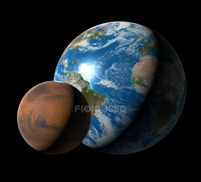 Digital artwork comparing size of Mars and Earth planets. — Stock Photo