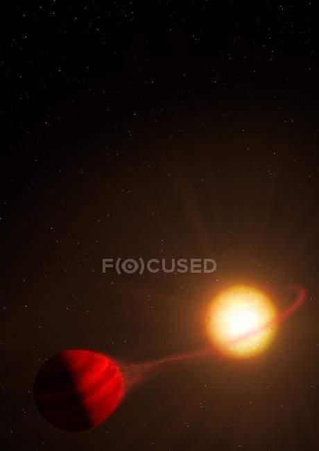 WASP-12b planeta extrasolar orbitando estrella WASP-12, obra de arte digital . - foto de stock