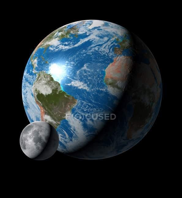 Digitale Kunstwerke einen Vergleich Größe von Erde und Mond — Stockfoto