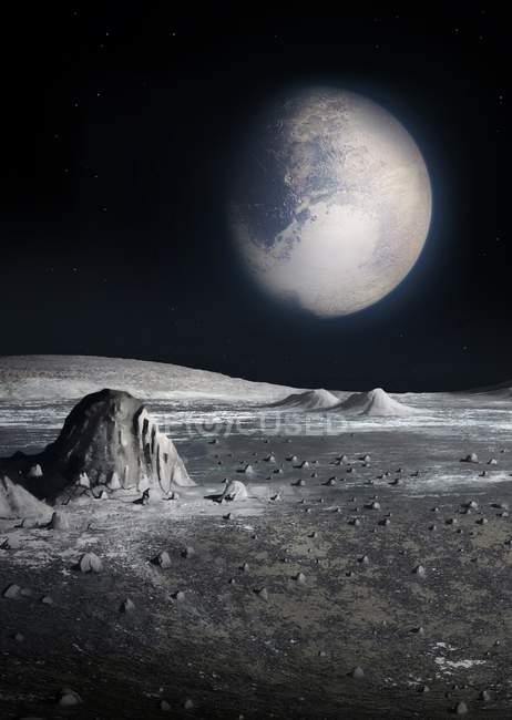 Иллюстрация зрения Плутона с поверхности Луны Харон . — стоковое фото