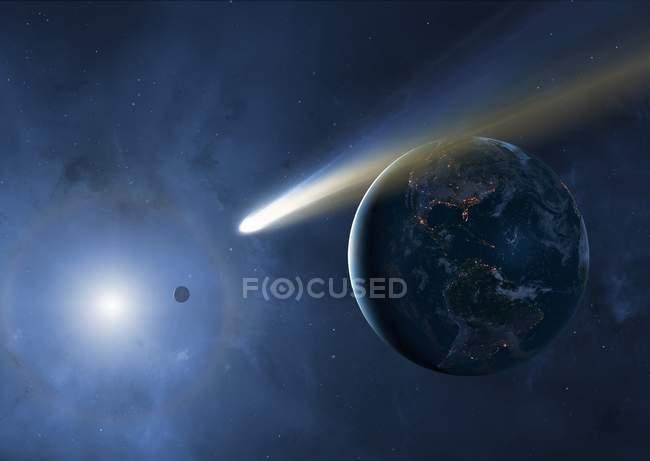 Иллюстрация Земли, Луны и Солнца с проходящей кометой . — стоковое фото