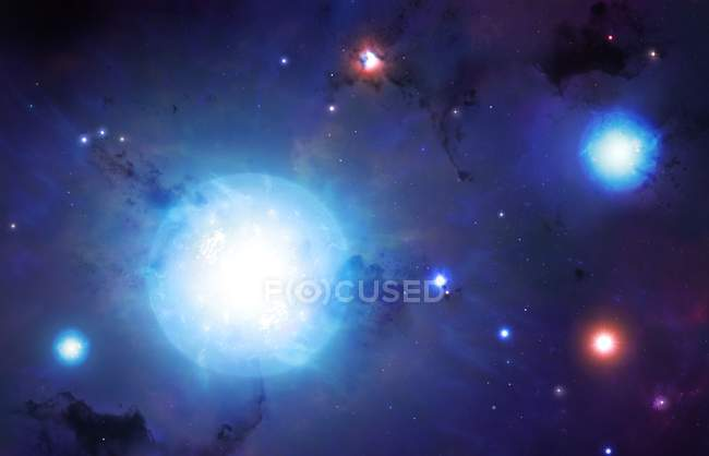 Illustration of Universe first generation of stars. — Stock Photo