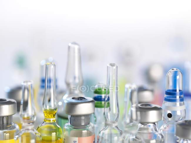 Variety of potential drugs in pharmaceutical vials. — Stock Photo