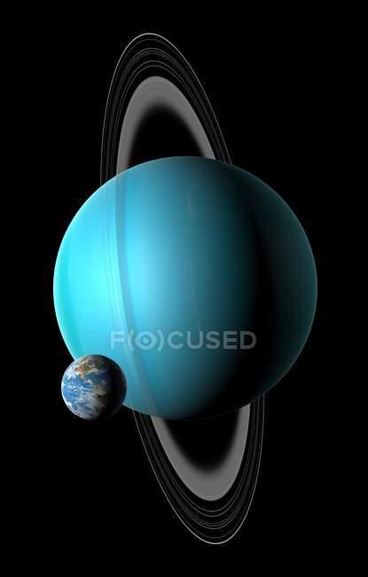 Digitale Illustration einen Vergleich Größe der Erde mit Planeten Uranus — Stockfoto