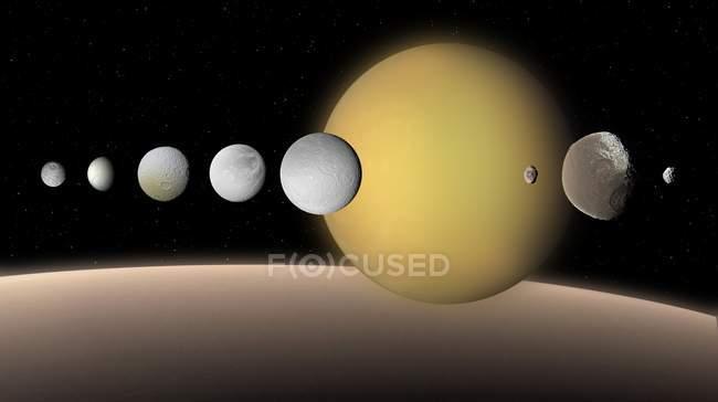 Digitale Illustration von Saturn Satelliten — Stockfoto