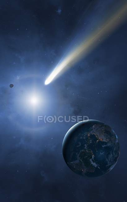 Digital illustration of Earth, Moon and Sun with passing comet. — Stock Photo