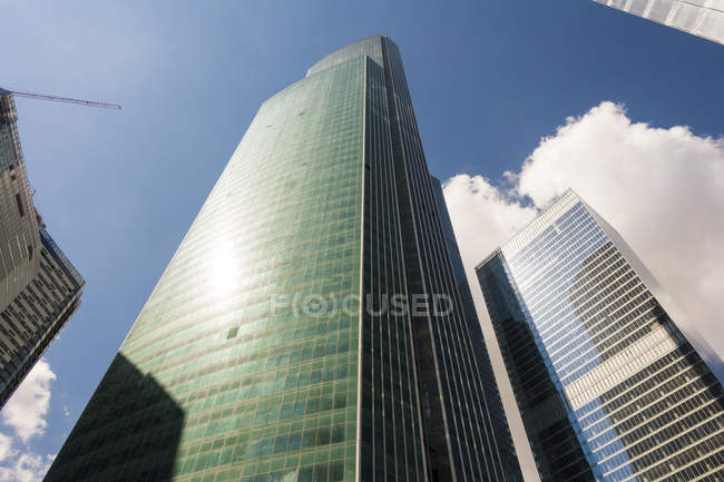 Low angle view of skyscrapers of Moscow, Russia. — Stock Photo