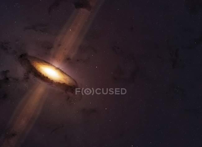 Ilustración de chorros que emanan de polos de estrella joven con disco de polvo circunstancial . - foto de stock
